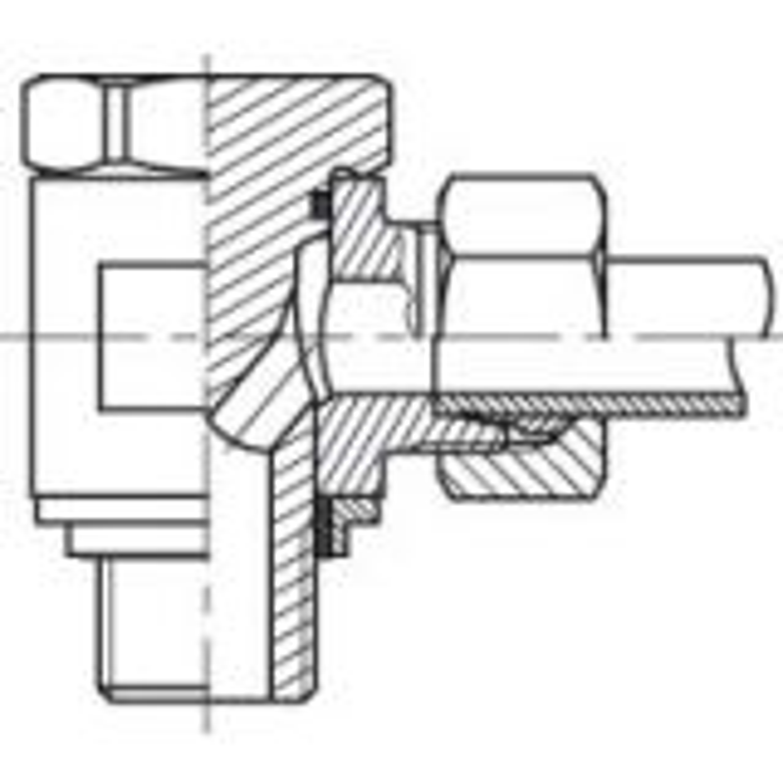 Leikkuurengasliitin 90° WHO M-kierre S-sarja